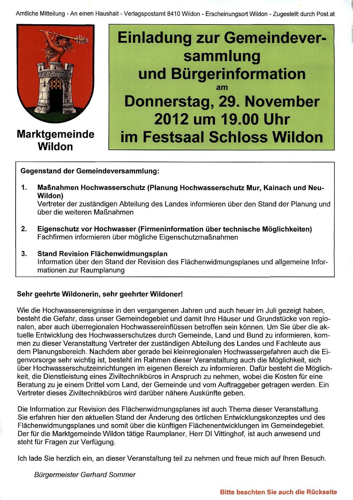 Marktgemeinde Wildon: Geschichte bis 2013
